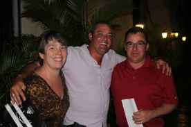 From left to right: Vermont parent Wendy Watson, translator and guide Lester Bolla, and parent Tim Pudvar at the Olivo restaurant following the final dinner.